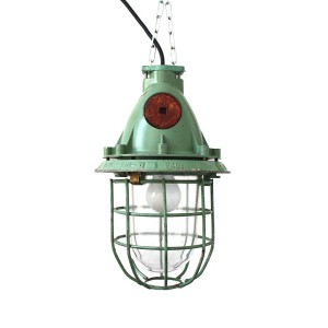 vintage green industrial bunker lamp