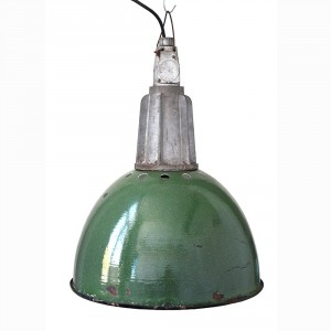 vintage green enamel lamp